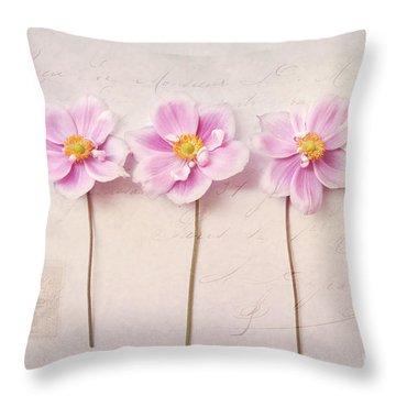 Anemone Trio Throw Pillow by Sylvia Cook