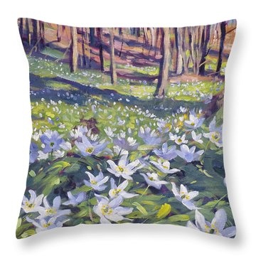 Anemones In The Meadow Throw Pillow