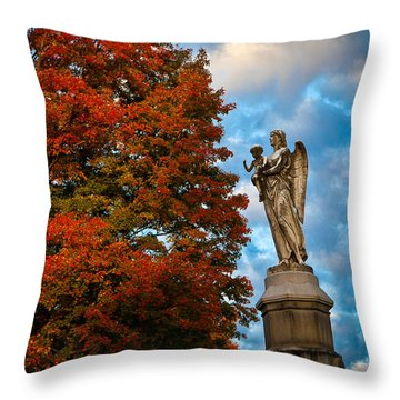 Angel And Boy In Foliage Scenery Throw Pillow by Jiayin Ma