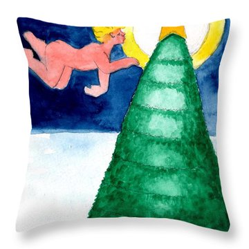 Angel And Christmas Tree Throw Pillow by Genevieve Esson
