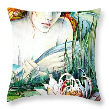Throw Pillow featuring the painting Angel And Lily by Anna Ewa Miarczynska