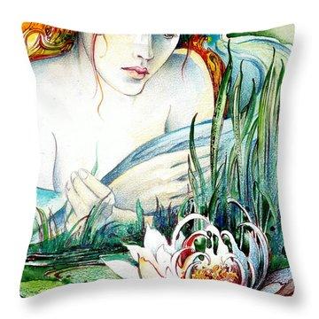 Angel And Lily Throw Pillow by Anna Ewa Miarczynska