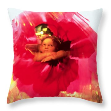 Angel And Poppy Throw Pillow by Katherine Fawssett