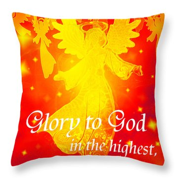Angel Announcement - Red Throw Pillow