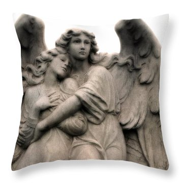 Angel Photography Guardian Angels Loving Embrace Throw Pillow by Kathy Fornal