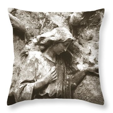 Angel Art - Surreal Ethereal Angel Wings Across Cemetery Wall  Throw Pillow by Kathy Fornal
