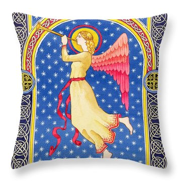 Angel Blowing Trumper Throw Pillow by Lavinia Hamer