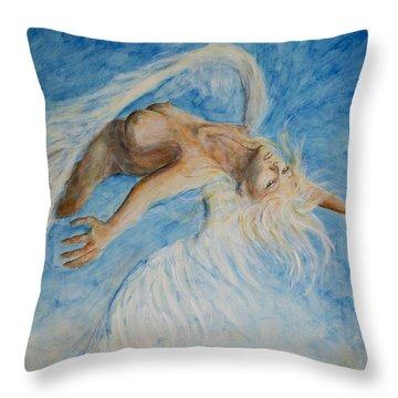 Angel Blu Drifter Throw Pillow by Nik Helbig