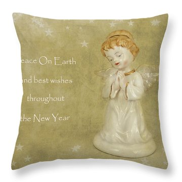 Angel Christmas Card Throw Pillow