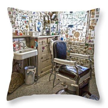 Angel Delgadillo's Barber Shop Throw Pillow
