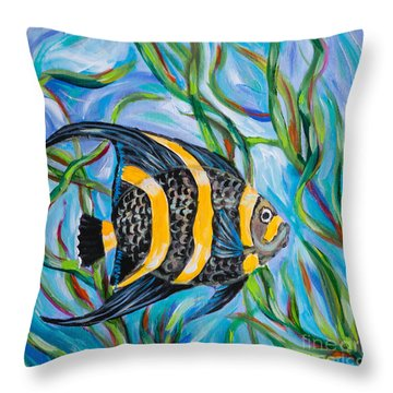 Angel Fish Throw Pillow by Linda Olsen