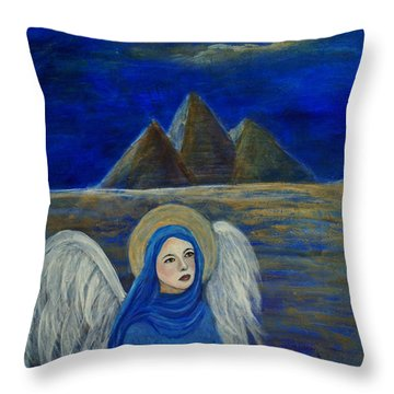 Angel From Eygpt Called Lapis Lazueli Throw Pillow by The Art With A Heart By Charlotte Phillips