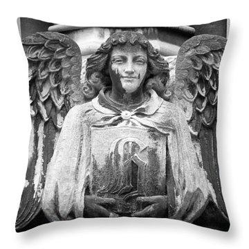 Angel Gargoyle University Of Chicago Throw Pillow by Joseph Duba