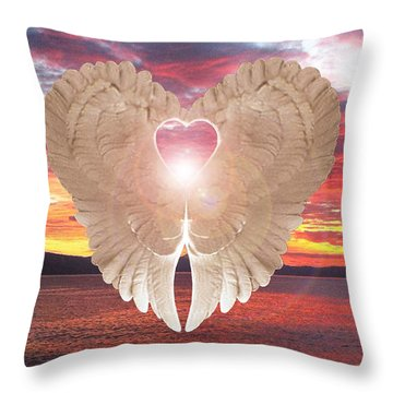 Throw Pillow featuring the digital art Angel Heart At Sunset by Eric Kempson
