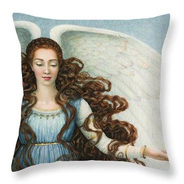 Angel In A Blue Dress Throw Pillow