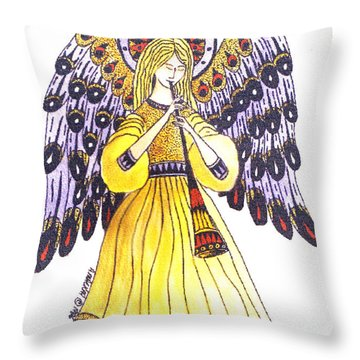 Angel In Horns Section Throw Pillow