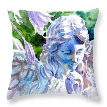 Angel In Stone Throw Pillow by Ken Meyer jr