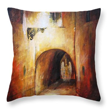 Angel In The Alley Throw Pillow by Dariusz Orszulik