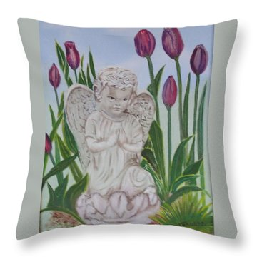 Angel In The Garden Throw Pillow