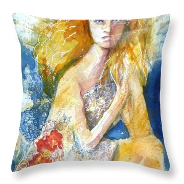 Throw Pillow featuring the painting Angel In Waiting by P Maure Bausch