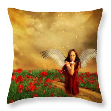 Angel Kisses Throw Pillow by Riana Van Staden