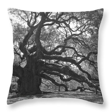 Angel Oak II - Black And White Throw Pillow