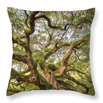 Angel Oak Tree Johns Island Sc Throw Pillow by Dustin K Ryan