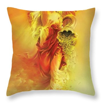 Throw Pillow featuring the painting Angel Of Abundance - Fortuna by Anna Ewa Miarczynska