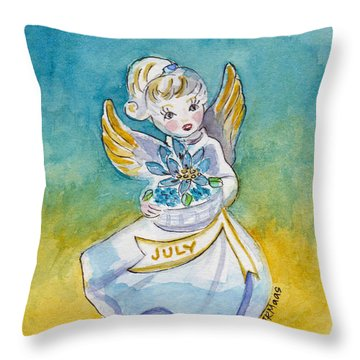 Angel Of July Throw Pillow by Julie Maas