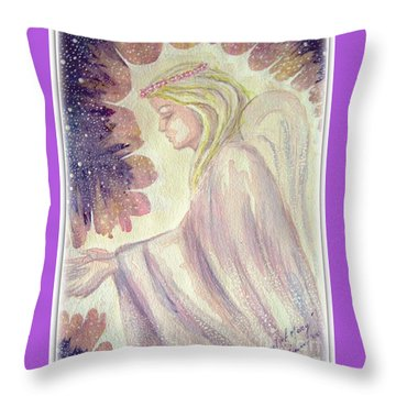 Throw Pillow featuring the painting Angel Of Mercy by Leanne Seymour