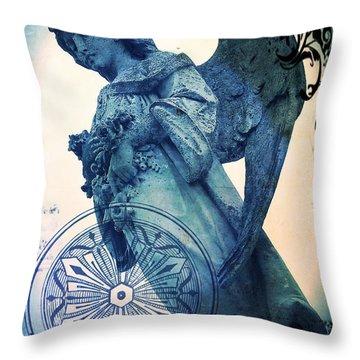 Throw Pillow featuring the digital art Angel Of Peace - Art Nouveau by Absinthe Art By Michelle LeAnn Scott