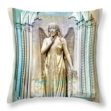 Angel Of Silence.genoa Throw Pillow by Jennie Breeze