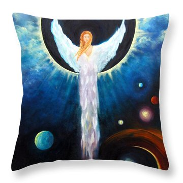 Angel Of The Eclipse Throw Pillow by Marina Petro