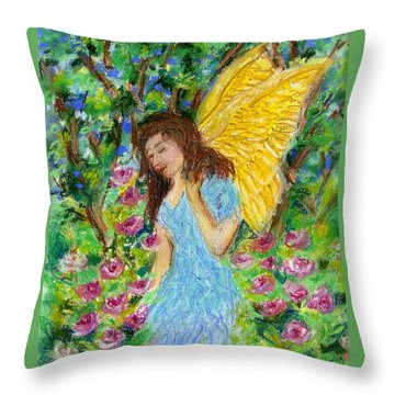 Angel Of The Garden Throw Pillow