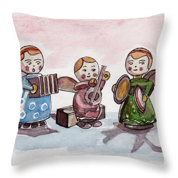 Angel Orchestra Throw Pillow by Julie Maas