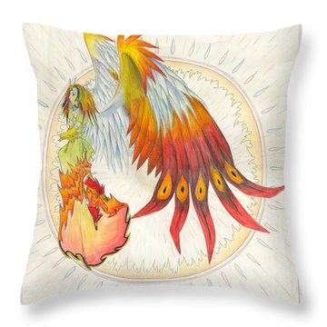 Throw Pillow featuring the painting Angel Phoenix by Shawn Dall