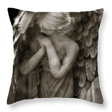 Angel Photography Spiritual Angel  - Guardian Angel In Prayer - Angel Praying  Throw Pillow