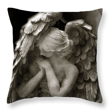 Angel Photography - Dreamy Spiritual Angel Art - Guardian Angel Art In Prayer  Throw Pillow by Kathy Fornal