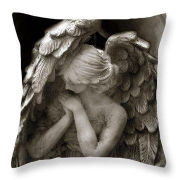Angel Photography - Dreamy Spiritual Angel Art - Guardian Angel Art In Prayer  Throw Pillow