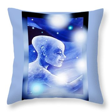Throw Pillow featuring the painting Angel Portrait by Hartmut Jager