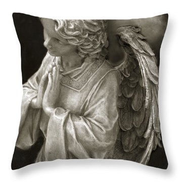 Angel Praying - Inspirational Angel Art Dreamy Surreal Angel In Prayer  Throw Pillow