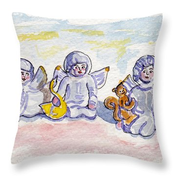 Angel Wishes Throw Pillow by Julie Maas