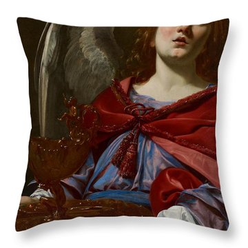 Angel With Attributes Of The Passion Throw Pillow by Simon Vouet