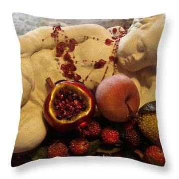 Angel With Fruit Throw Pillow