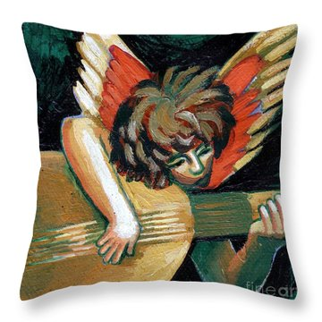 Angel With Lute Throw Pillow