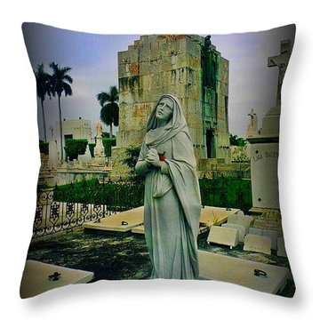 Angel With Rose Throw Pillow by John Malone
