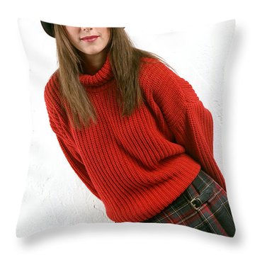 Angela Plaid Skirt Throw Pillow by Gary Gingrich Galleries
