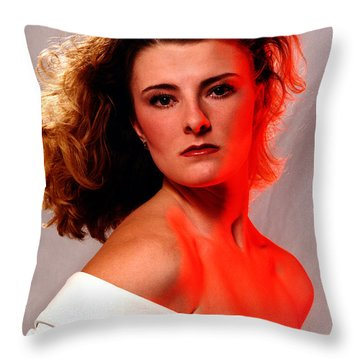Angela Red Leather Throw Pillow by Gary Gingrich Galleries