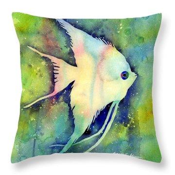 Angelfish I Throw Pillow by Hailey E Herrera