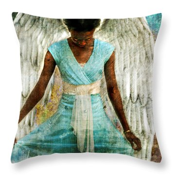 Throw Pillow featuring the photograph Angelic Thanks by Nada Meeks